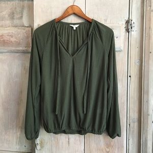 Lucky Brand Olive Green Boho Top Flowy S